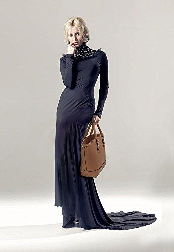 ANNA GRACE - Bolso al hombro de piel sintética para mujer Design 1 - Dark / Nude