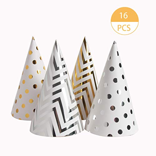 Adult Birthday Hats (SBYURE 16 Pieces Happy Birthday Party Hats for Children and Adults, Fun Birthday Jamboree Party Hats,Gold,)