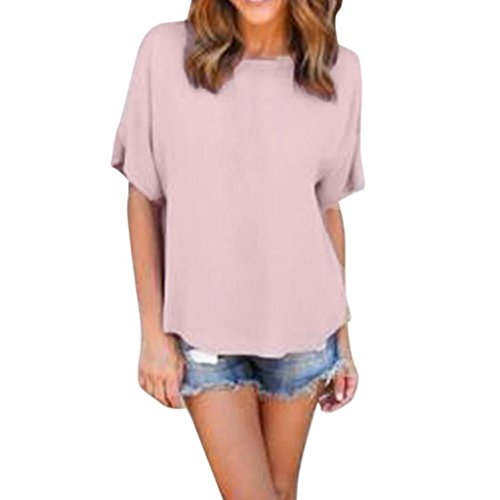 CieKen Clothing Women Loose Pullover Short Sleeve T Shirt Tops Solid Chiffon Casual Blouse Garment (XL, - In Akron Shopping Ohio