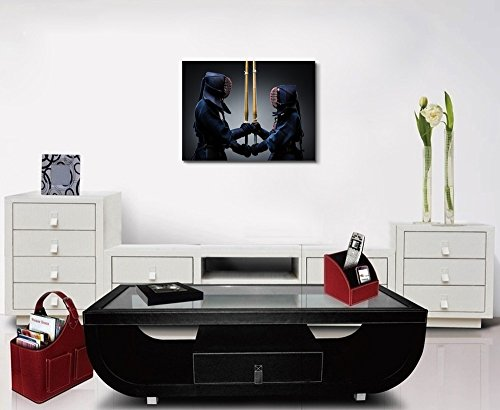 """Wall26 - Canvas Prints Wall Art - Two Kendo Fighters with Shinai Opposite Each Other 