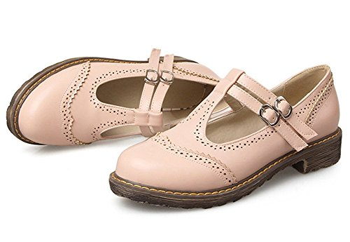Low Easemax Sweet Strap Heels Toe Round Pink Shoes Buckle Womens Pumps 1cgqywF1a