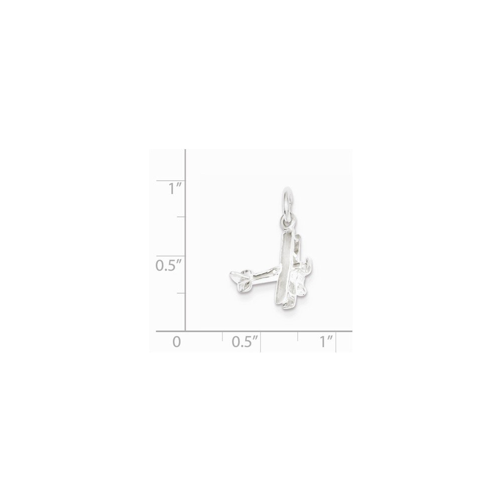 15mm x 17mm Jewel Tie 925 Sterling Silver Airplane Pendant Charm