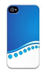 Blue Stripes And Flower PC Case for iphone 4S/4 by runtopwell