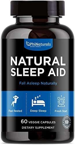 Natural Sleep Aid | with Melatonin, GABA, Valerian Root, Passion Flower, Skullcap & Chamomile | Sleeping Pills Alternative by Phi Naturals