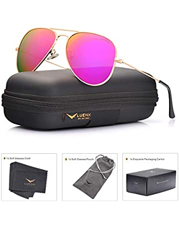 1e143cb91b4e LUENX Womens Mens Aviator Sunglasses Polarized Mirrored Rose Red Lens Metal  Frame with Case 60MM UV
