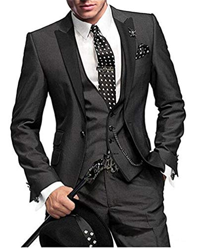 Button Three Four Suit Button - One Button 3 Pieces Charcoal Wedding Suits Notch Lapel Men Suits Groom Tuxedos Charcoal 44 chest / 38 waist