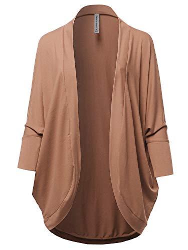 Premium 3/4 Sleeve Loose Cocoon Open Front Pocket Cardigan Camel - Front Camel Pocket