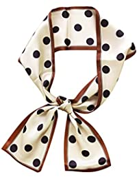 IMLECK Narrow Handbag Handle Neckerchief Polka Dot Silk Skinny Scarf for Women