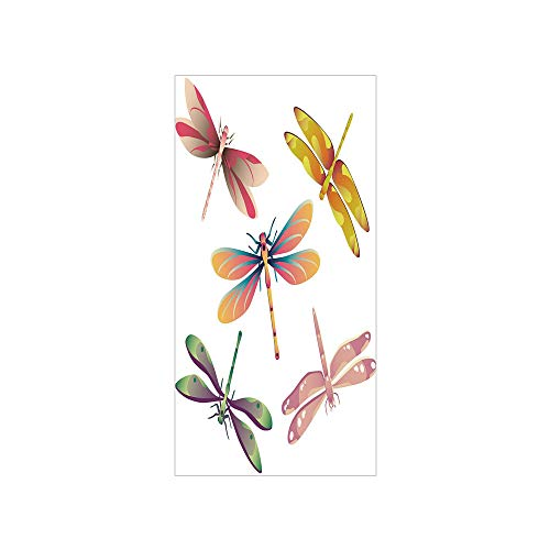 3D Decorative Film Privacy Window Film No Glue,Dragonfly,Five Spiritual Bugs in Modern Abstract Patterned Beauty Elegance Artsy Motif Decorative,Multicolor,for (Five Dragonfly Window)