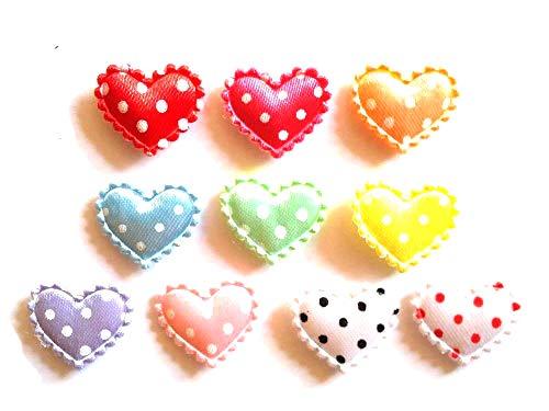 100 Pcs Cute Satin Heart Padded Applique Size 20 X 15 Mm Mix ()