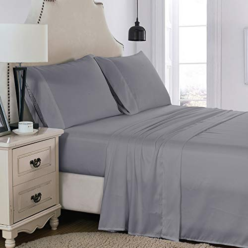 PHOENIX HOME TEXTILES 1500 Collection Soft Brushed Microfiber Sheet Set with 15-Inch Deep Pocket -Wrinkle Fade and Stain Resistant - 4 Piece (Queen, Grey)