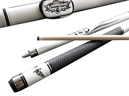 Over 50% Off Champion Sp-r Billiards Snake Leather Skin Maple Pool Cue +Black or White Pool Cue Case + Billiard Glove! (58 Inch, 19 Oz)