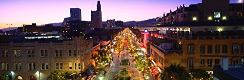 High angle view of a city lit up at dusk Third Street Promenade Santa Monica California USA Poster Print (36 x - Santa Promenade Monica Street Third