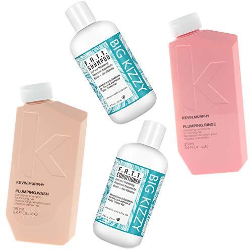 (Kevin Murphy Plumping Wash & Rinse Set 8.4 oz + Big Kizzy Biotin Shampoo & Conditioner Duo 8.5 oz)