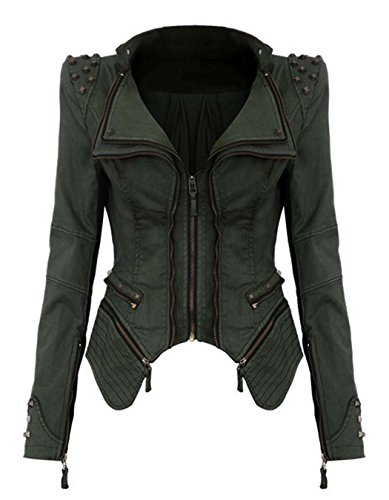 Studded Vintage Jeans - Cnlinkco Women Fashion Denim Jacket, Studded Retro Punk Notched Lapel Jeans Blazer Jacket (L, Green)
