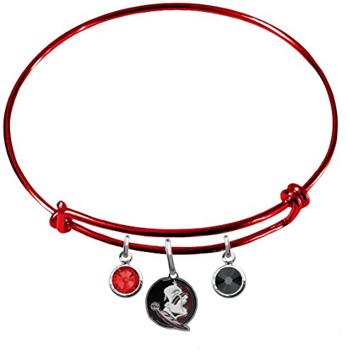 Florida State Seminoles New Logo RED Expandable Wire Charm Bracelet Bangle w/ Team Color Crystals