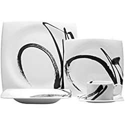 Red Vanilla PB1300-905 5 Piece Paint It Place Setting, White/Black