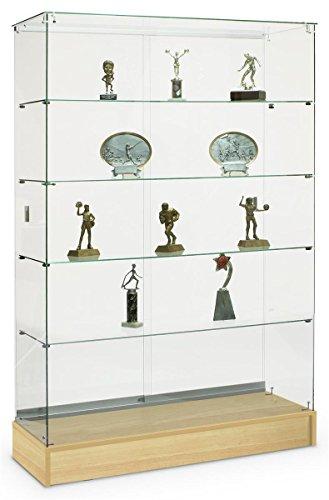 Glass Frameless Design Trophy Case, 48 x 72 x 18-Inch, Honey Maple Finish Laminate Base, Locking Sliding Doors ()