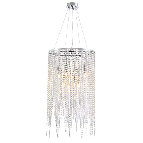 7PM Modern Contemporary Round Island Elegant K9 Crystal Glass Chandeliers Crystal Droplets LED Pendant Suspension Lamp Light Fixture Hanging for Dining Room Kitchen Island Over Table Flush Mount