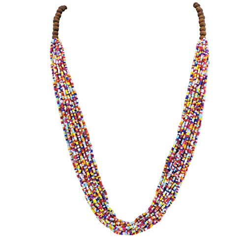 - Bocar Long Multiple Row Handmade Beaded Statement Necklace with Gift Box (NK-10407-multicolor)
