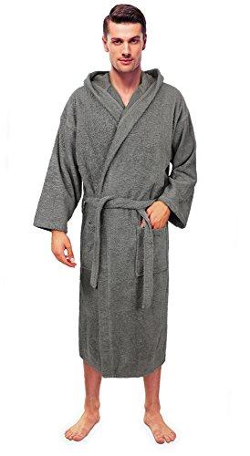 (Turkuoise Men's Turkish Terry Cloth Robe, Thick Hooded Bathrobe)