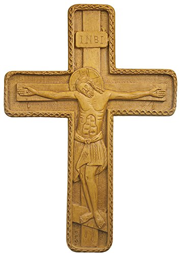Byzantine Wall Cross Hand-carved Aromatic Greek Russian Christian Orthodox Plaque Made with Pure Wax, Mastic and Incense From Mount Athos