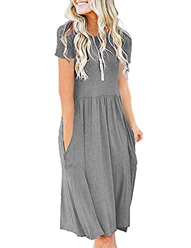 (AKEWEI Women Summer Short Sleeve Loose Plain Casual Midi Dresses with Pockets Grey 2XL)