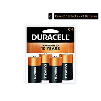 Image of C Duracell - CopperTop C Alkaline Batteries with recloseable Package - Long Lasting, All-Purpose C Battery for Household and Business - 4 Count (Pack of 18)