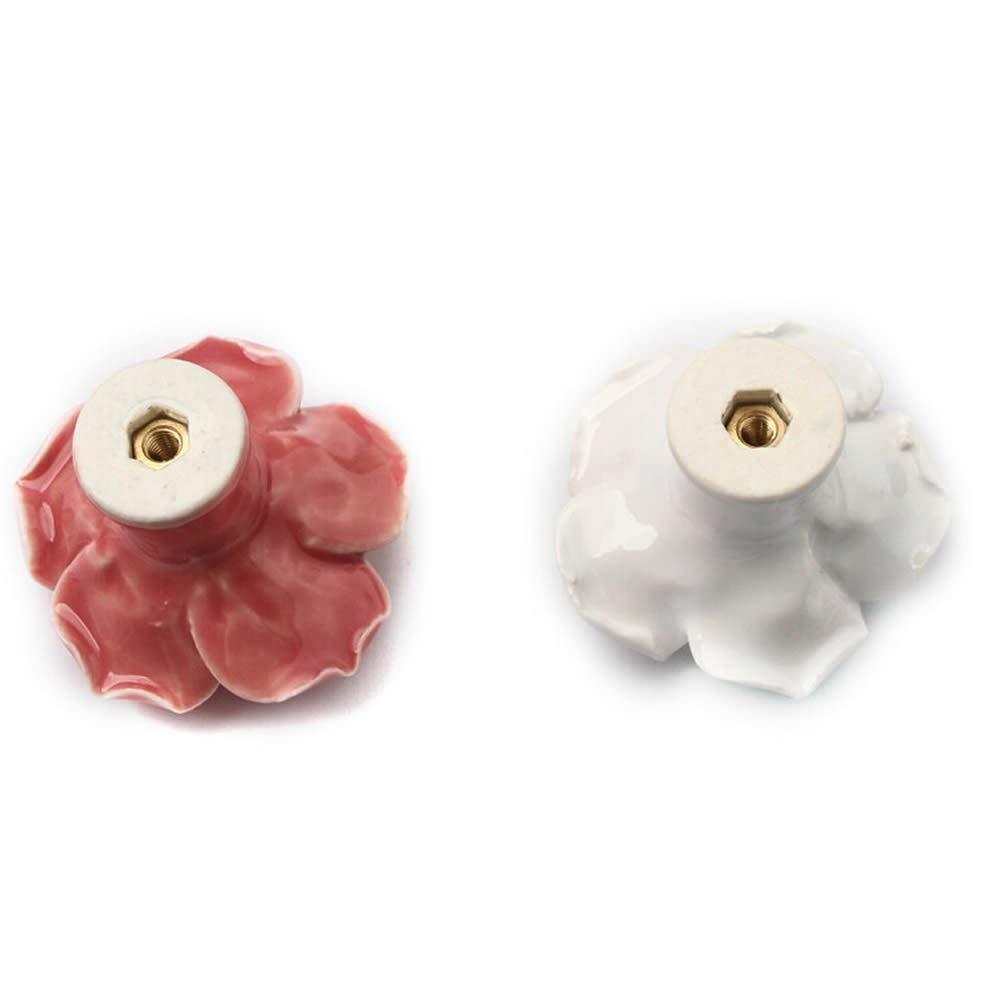 L, Rosado Mango para Caj/ón Puerta de Armario Muebles Decoraci/ón ISKYBOB 2 Piezas Tiradores de Forma Floral Rosa