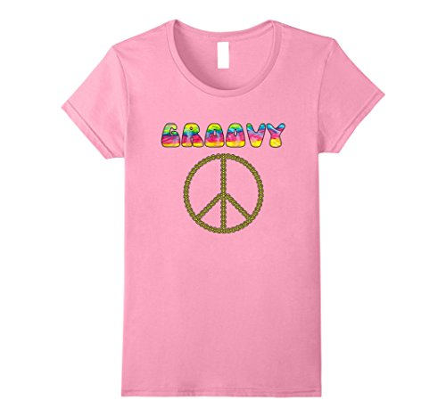 Groovy Love Peace Sign (Womens Vintage Retro 1970s Tie Dye Groovy Peace Sign T-Shirt Medium Pink)