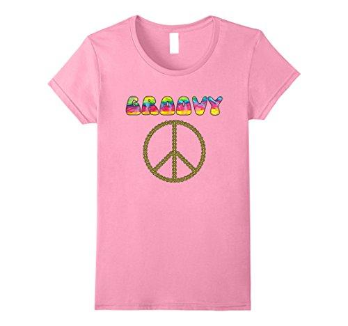 Womens Vintage Retro 1970s Tie Dye Groovy Peace Sign T-Shirt Large - 1970s Retro