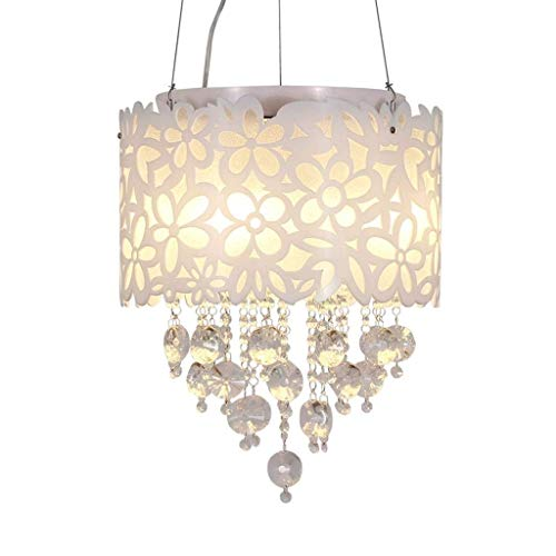 XAJGW Child Chandeliers White Carved Flower LED Light Stainless Steel Crystal Pendant Lighting LED for Living Room,Bedroom