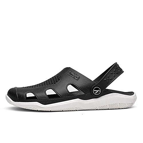 Sandales Outdoor Summer Mules Trend sheos 2018 Wenquan Vamp Hollow Blanc Talon Plat Mens Mules sur Beach Slip Noir Shoes naxxYFO