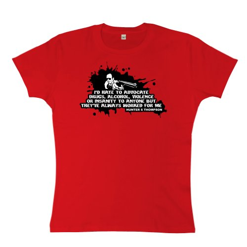Womens T Shirt- Advocate - Red - Large - Vegas And Loathing Depp Fear Johnny Las