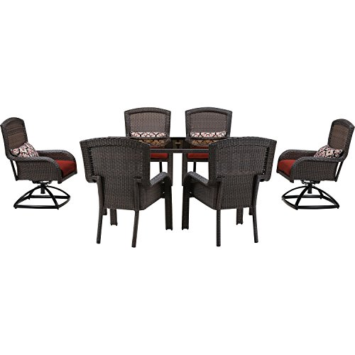Hanover Strathmere Series Dining Set (7-Piece) Crimson Red STRADN7PCSW-RED