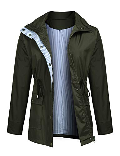 Romanstii Rain Jacket Women Waterproof with Hood Lightweight Raincoat Outdoor Windbreaker Double Layer Jacket
