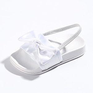 FITORY Toddler Girls Slides,Silky Bow Sandal Slip on Shoes for Little Kids