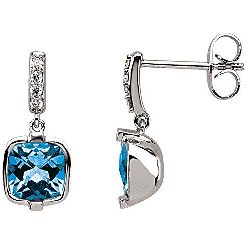 14K White Gold Swiss Blue Topaz & Diamond Earrings For - Esmeralda Is What