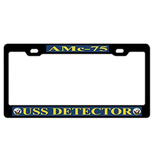(GqutiyulUCOOL USS Detector AMc-75 Black License Plate Frame, Funny Humor Car Tag Frame License Plate Cover Holder, Auto Car Truck for US Standard)