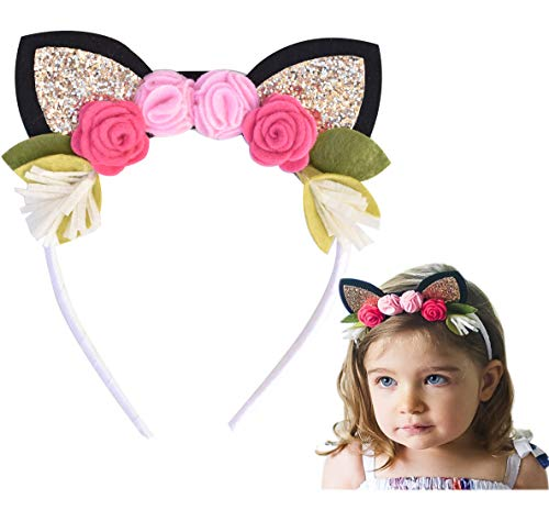 California Tot Kitty Cat Headband with Glitter Ears & Felt Flower Crown for Babies, Toddlers, Girls (Kitty)