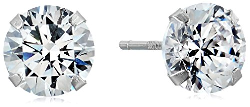 5mm Round Cubic Zirconia 10k White Gold Stud Earrings