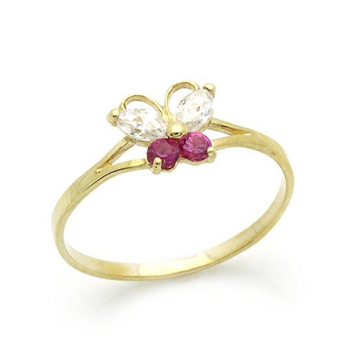 Double Accent 14K Gold Ring Yellow Gold Ring Red White CZ Butterfly size 2 to 5