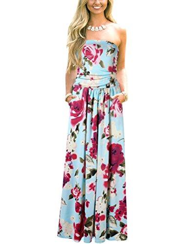 Leadingstar Women Strapless Maxi Vintage Floral Print Graceful Party Long Dress (Asian L, Blue Rose)