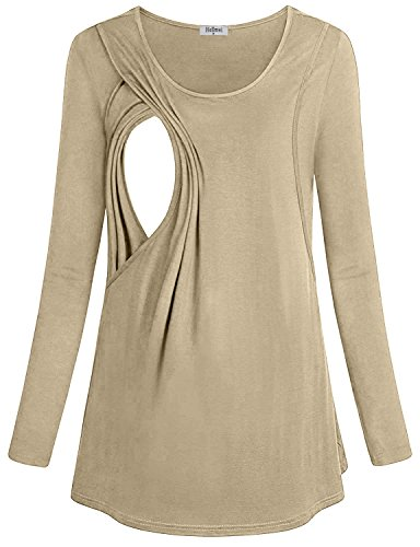 Hellmei Maternity Tops for Women, Maternity Women Long Sleeve Round Neck Soft Breastfeeding Tshirt Loose Fit Nursing Clothes with Discrete Access(Large,Beige)