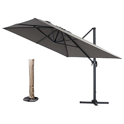 HereDeco Luxury Outdoor 10ft x 10ft Square Hanging Roma Offset Umbrella 360 Rotation Patio Sun Shade Cantilever Crank Canopy with Umbrella Cover (Gray)