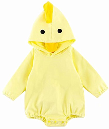 EGELEXY Baby Boys Girls Cute Dinosaur Chick 3D Costume Hooded Romper Baby Jumpsuit Size 12-18 Months/Tag90 (Yellow) -