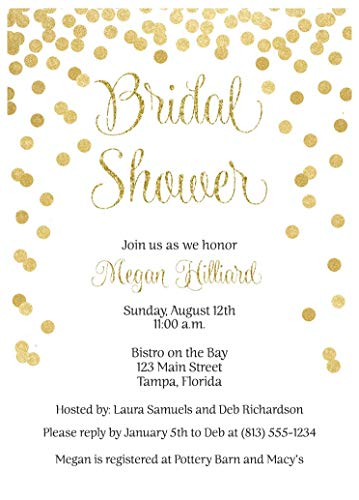 Golden Anniversary Invitation - Brunch and Bubbly Bridal Shower Invitations Confetti Wedding Party Invites Rehearsal Dinner Anniversary Party Customize Cards Champagne Gold Golden White Glitter (10 Count)