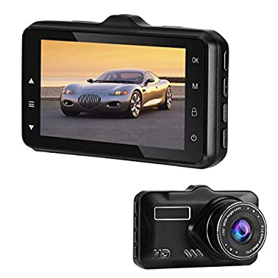 "Dash Cam, Car Camera 1080P FHD Car DVR Driving Recorder 3.7"" LCD Screen 170°Wide Angle, G-Sensor, WDR, Parking Monitor, Loop Recording, Motion Detection (Black)"