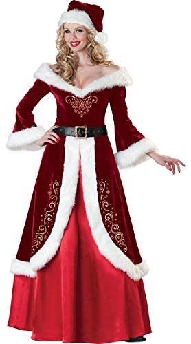 Deluxe Santa Claus Red Santas Helper Costume Adult Outfit Plus Size Deluxe Santa Claus Red Santas Helper Costume Adult Outfit Plus Size (L, Female Suit)