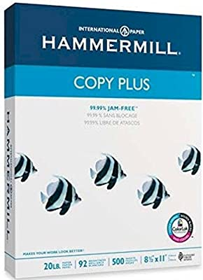 Hammermill Copy Plus Multipurpose/Fax/Laser/Inkjet Printer Paper, Letter Size (8.5 x 11), 92 Brightness, 20 lb Density, Acid Free, Ream, 500 Total Sheets (105007)